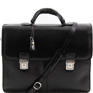 Front View Of The Black Bolgheri Business Leather Briefcase