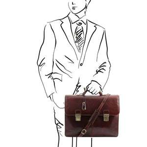 Sketch Of Man Posing With Front View Of The Brown Bolgheri Business Leather Briefcase