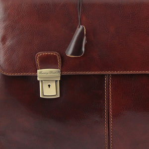 Lock And Key View Of The Brown Bolgheri Business Leather Briefcase