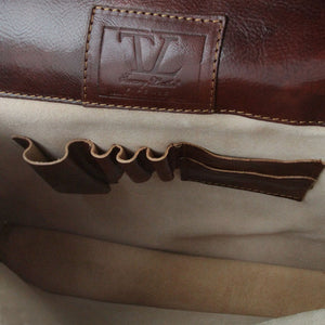 Top Angled Features View Of The Brown Business Leather Briefcase