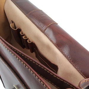 Internal Features View Of The Brown Bolgheri Business Leather Briefcase