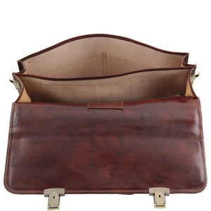 Internal Compartment View Of The Brown Bolgheri Business Leather Briefcase