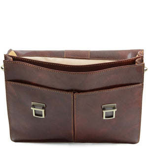 Front Flap removed View Of The Brown Business Leather Briefcase