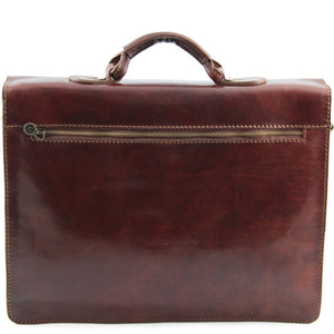Rear Zipper View Of The Brown Business Leather Briefcase
