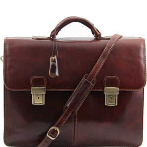 Front View Of The Brown Business Leather Briefcase