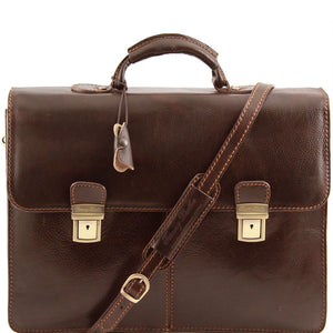 Front View Of The Dark Brown Business Leather Briefcase