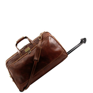 Angled Retractable Handle View Of The Brown Small Leather Trolley Bag