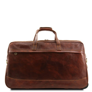 Rear View Of The Brown Small Leather Trolley Bag