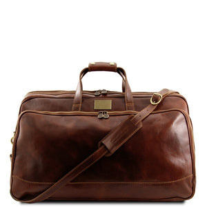 Front View Of The Brown Small Leather Trolley Bag