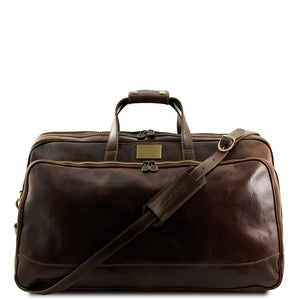 Front View Of The Dark Brown Small Leather Trolley Bag