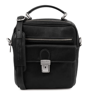 Front View Of The Black Mens Shoulder Bag