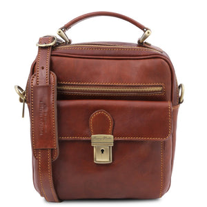 Front View Of The Brown Mens Shoulder Bag