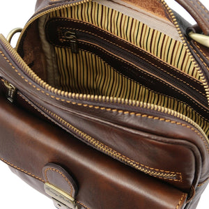 Internal View Of The Dark Brown Mens Shoulder Bag