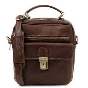 Front View Of The Dark Brown Mens Shoulder Bag