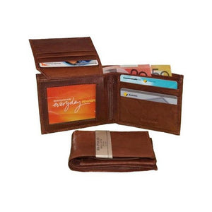 Open Wallet View Of the Brown Slim Leather Wallet