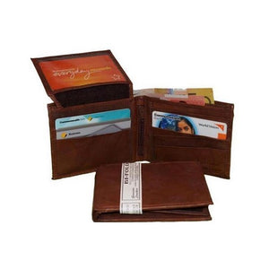 Pockets and Feature View Of The Mens Brown Leather Bifold Wallet
