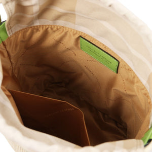 Interior Compartment View Of The Green Bucket Bag