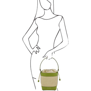 Woman Posing With The Green Bucket Bag