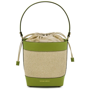Front View Of The Green Bucket Bag