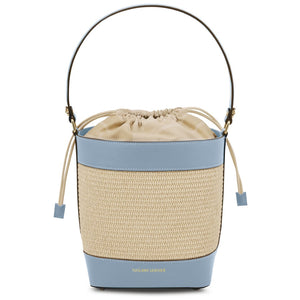 Front View Of The Light Blue Bucket Bag