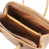 Internal Pocket View Of The Champagne Ladies Leather Handbag