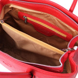 Internal Zip Pocket View Of The Lipstick Red Ladies Leather Handbag