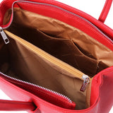 Internal Pocket View Of The Lipstick Red Ladies Leather Handbag