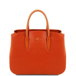 Front View Of The Brandy Camelia Ladies Leather Handbag