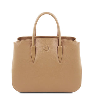 Front View Of The Champagne Camelia Ladies Leather Handbag