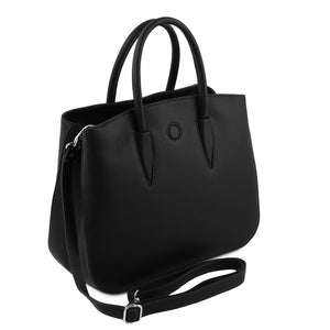 Angled View Of The Black Ladies Leather Handbag