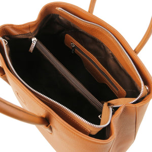 Internal Zip Pocket View Of The Cognac Ladies Leather Handbag