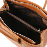 Internal Pocket View Of The Cognac Ladies Leather Handbag
