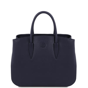 Front View Of The Dark Blue Ladies Leather Handbag