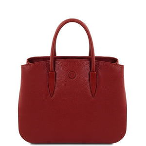 Front View Of The Red Camelia Ladies Leather Handbag