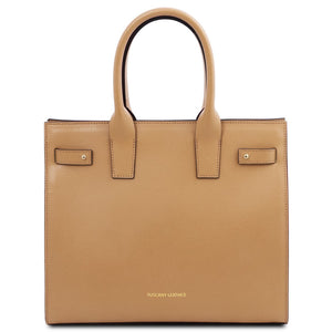 Front View Of The Champagne Womens Leather Tote Handbag