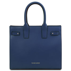Front View Of The Dark Blue Womens Leather Tote Handbag