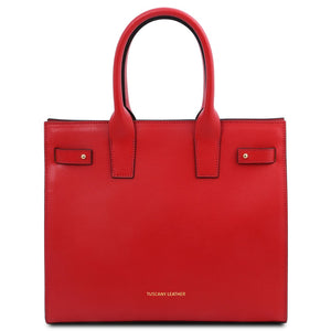 Front View Of The Lipstick Red Womens Leather Tote Handbag