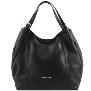 Front View Of The Black Cinzia Soft Leather Shopping Bag