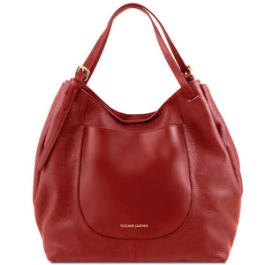 Front View Of The Red Cinzia Soft Leather Shopping Bag