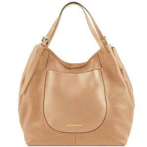 Front View Of The Champagne Cinzia Soft Leather Shopping Bag
