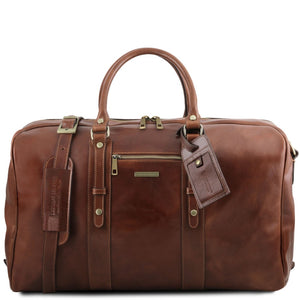 Front View Of The Brown Classic Leather Traveler's Bag