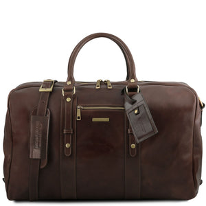 Front View Of The Dark Brown Classic Leather Traveler's Bag