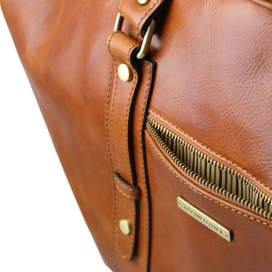 Front Zipper Pocket View Of The Honey Classic Leather Traveler's Bag