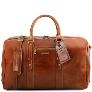 Front View Of The Honey Classic Leather Traveler's Bag