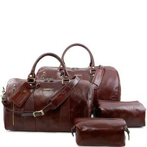Front View Of The Brown Columbus Leather Travel Set