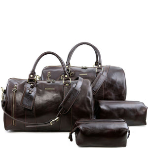 Front View Of The Dark Brown Columbus Leather Travel Set