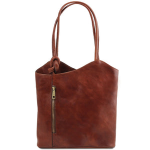 Front View Of The Brown Convertible Backpack Handbag