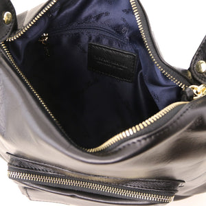 Internal View Of The Black Convertible Leather Handbag