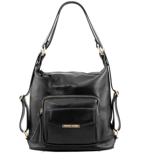Front View Of The Black Convertible Leather Handbag
