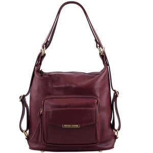 Front View Of The Bordeaux Convertible Leather Handbag